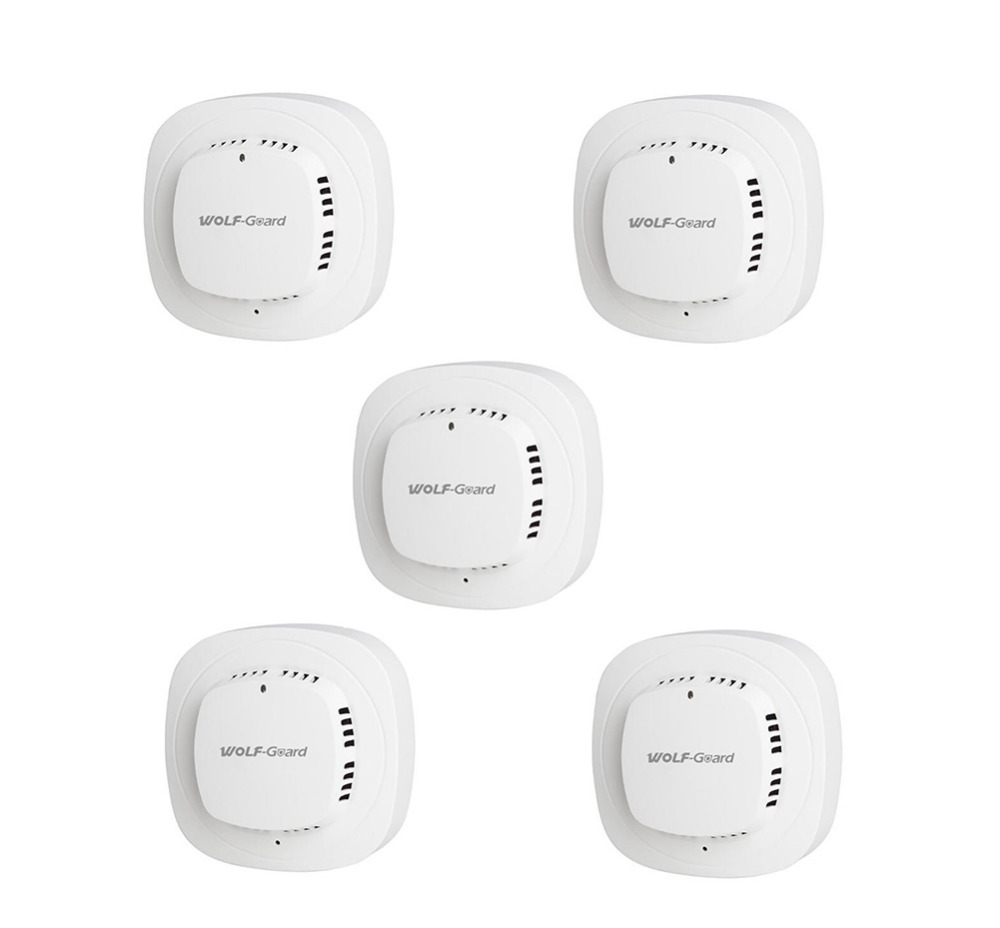 5 x Wolf-Guard Wireless Fire Smoke Alarm Detector High Sensitivity Stable Fire Alarm Detecting for Home Security System YG-07A