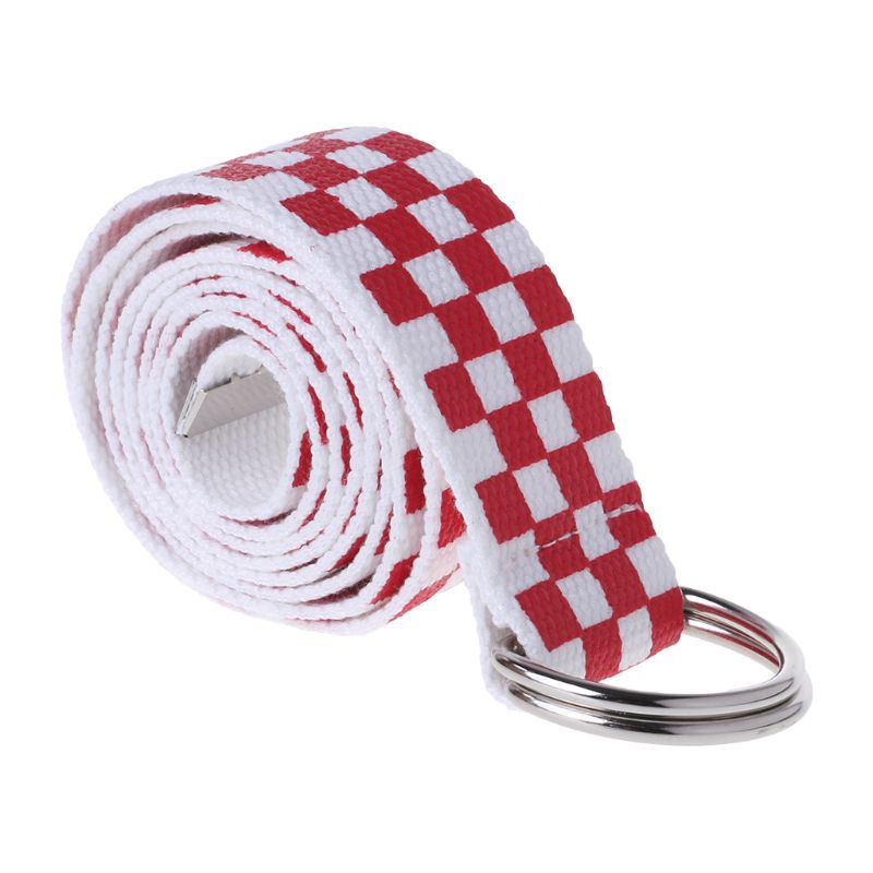 New Women Plaid Checkerboard Canvas Waist Belts Girls Casual Checkered D Ring Red White Plaid Waistband Strap Accessories