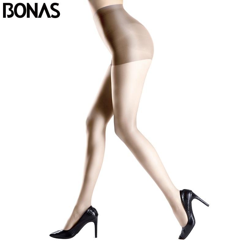 BONAS Transparent Solid Color Tights Womens Black Thin Nylon Pantyhose For Lolita Fashion Knitting Polyester Female Pantyhose