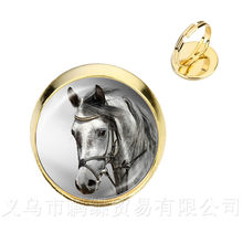 Cute Purple Unicorn Fly Horses Glass Cabochon Rings Jewely Silver/Golder Plated 2 Color Adjustable Rings For Women Gift(China)