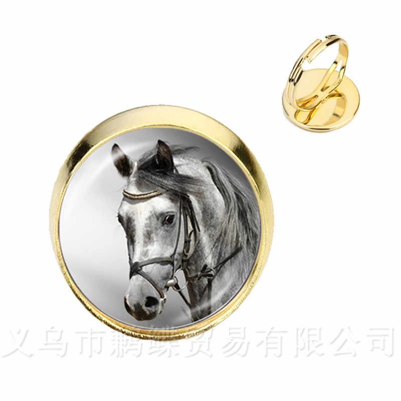 Leuke Paarse Eenhoorn Fly Paarden Glas Cabochon Ringen Jewely Zilver/Golder Plated 2 Kleur Verstelbare Ringen Voor Vrouwen Gift