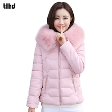 TLHD Winter Jacket Women Slim Thick Warm Stylish Short Jacket Coats Lady With High Quality Fur Hooded Women Parkas(China)