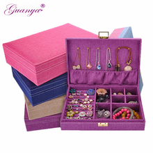 Купить с кэшбэком Guanya New High grade love gift choice fashion Natural linen jewelry box Multi-functional Necklace Rings etc jewelry casket