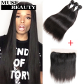 Beauty 10A Brazilian Virgin Hair Straight 3 Bundles With Lace Frontal Closure Queen Berry Straight Brazilian Hair With Closure