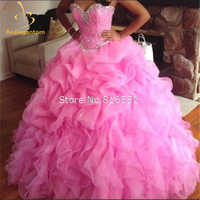 New Sexy Cheap High Quality Pink Ball Gown Quinceanera Dresses 2018 with Beaded Sweet 16 Dresses Vestido De 15 Anos QA959