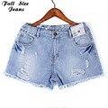Plus Size Sexy Rasgado Franja Buraco Short Jeans Para As Mulheres Com Taille Haute Femme 4Xl 5Xl Xl Hem Shorts Jeans de Grandes Dimensões Tassle
