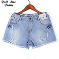 Plus Size Sexy Ripped Hole Fringe Short Jeans For Women With Taille Haute 4Xl 5Xl Xl Oversized Denim Shorts Tassle Hem Femme