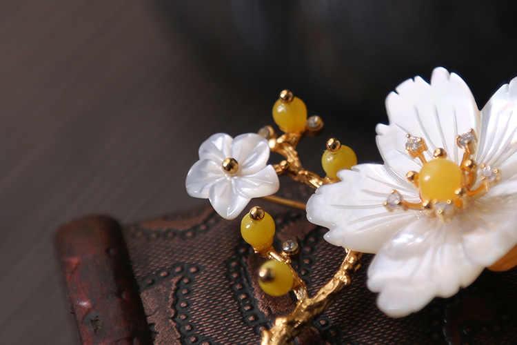 XlentAg oryginalne naturalne matka perła kwiat wosk pszczeli broszki dla kobiet prezenty podwójnego zastosowania dzieła projektant biżuteria luksusowe GO0228