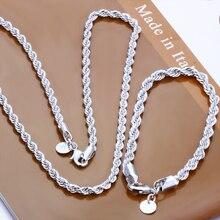Модные ювелирные изделия мужские Наборы Серебряный браслет+ ожерелье веревка цепь комплект ювелирных изделий