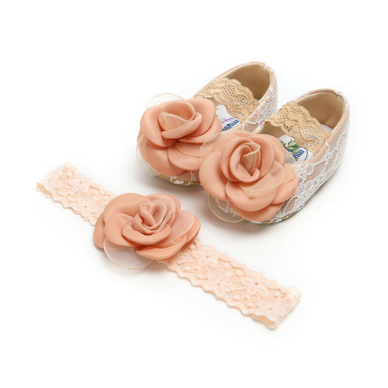 Newborn Baby Girls Shoes Princess Lace Floral Kid Breathable Soft Crib Shoes+Headband 2Pcs Set Moccasin Infant Toddler Prewalker