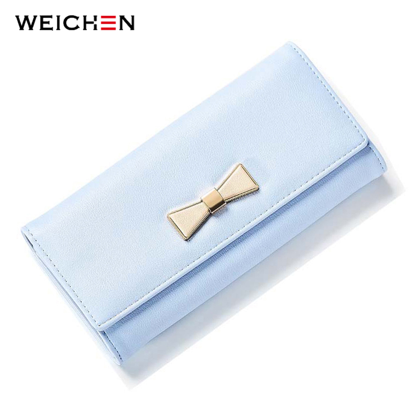 WEICHEN 2018 New Design Bow Long Wallet for Women Soft PU Leather Female Purse Ladies Card Coin Phone Pocket Purses Lady Bolsas simple organizer wallet women long design thin purse female coin keeper card holder phone pocket money bag bolsas portefeuille