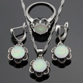 Australia White Opal Flower Silver Color Jewelry Sets For Women Christmas Necklace Pendant Drop Earrings Rings Free Gift Box