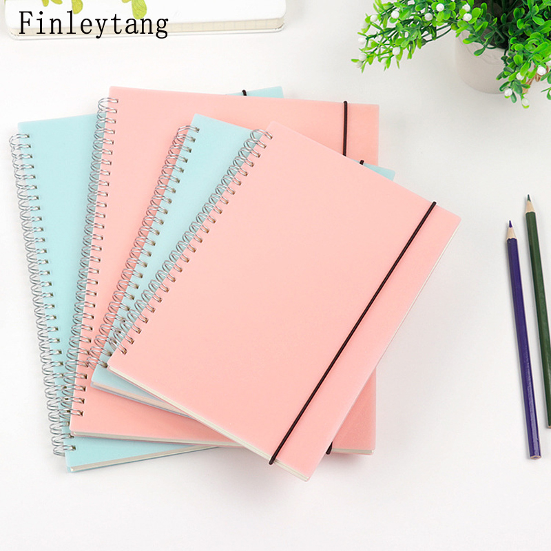 Creative Simple Color PP material Cover Silver Double Coil Ring Spiral Notebook A5 B5 Dot Blank Grid Line Inside Paper Notepad