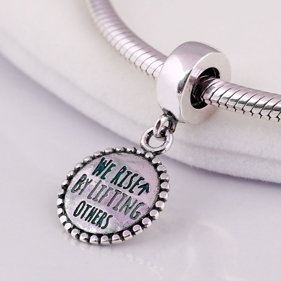 New 925 Sterling Silver Bead Charm Green Enamel We Rise By Lifting Others Pendant Beads Fit Women Pandora Bracelet Jewelry