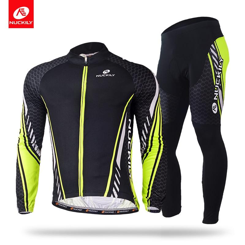 NUCKILY Zimní Cyklistické oblečení Polyesterové termolové dresy a pěnové punčocháče vhodné pro muže ME015MF015