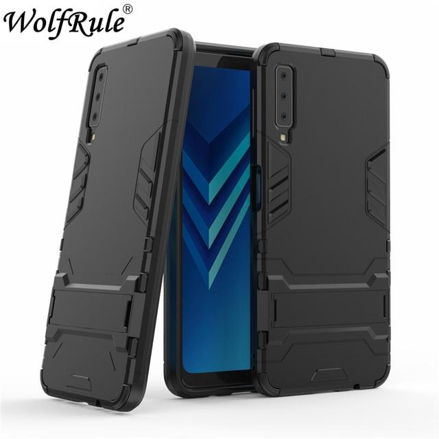 brand new 16e2b 97b3a US $2.64 38% OFF sFor Cover Samsung Galaxy A7 2018 Case Silicone Rubber  Robot Armor Hard Case For Samsung A7 2018 Funda For Samsung A7 2018  A750F-in ...