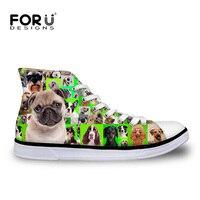 FORUDESIGNS Cute Pet Dog Pug Print Women S Classic Vulcanized Shoes Fashion Women High Top Canvas