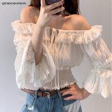 Kawaii Summer White Blouse Women Ruffle Off Shoulder Crop Tops Ladies Korean Fashion Flare Sleeve Lace Blouse blouses femme ete off the shoulder lace sleeve blouse