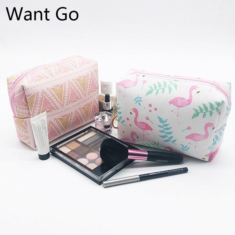 купить Want Go Preppy Style Students Make-Up Bag Waterproof Women Cosmetic Bag Pu Leather Travel Toiletry Organizer Bag Vanity Neceser по цене 124.44 рублей