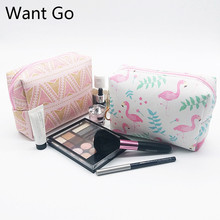 Want Go Preppy Style Students Make-Up Bag Waterproof Women Cosmetic Pu Leather Travel Toiletry Organizer Vanity Neceser