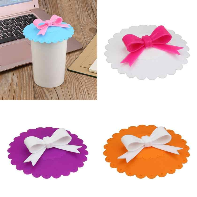 Hot Kawaii Bow Onion Lace Dust Reusable Silicone Cover Cup Thermal Insulation Cup Seal Silicone Cover Pouch Silicone Cover Aug8