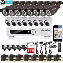 Eyedea 16CH DVR Video Recorder 1080P Bullet Dome Outdoor CMOS LED Night Vision CCTV Security Camera Burglar Alarm System 3TB Kit