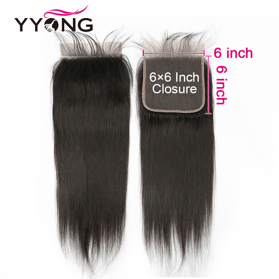 Yyong 6X6 Lace Closure Brazilian Straight Hair 100% Remy Human Hair Lace Closure Bleached Knots Free Part Natural Hairline