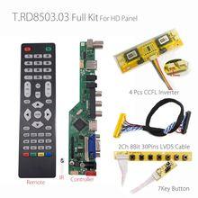 T. RD8503.03 Evrensel LCD LED TV Denetleyici sürücü panosu TV/PC/VGA/HDMI/USB + 7 Anahtar düğmesi + 2ch 8bit 30 LVDS Kablo + 4 lamba invertör