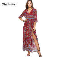 BHflutter Red Long Dress Women 2018 New Fashion V Neck High Wasit Casual Summer Dress Floral