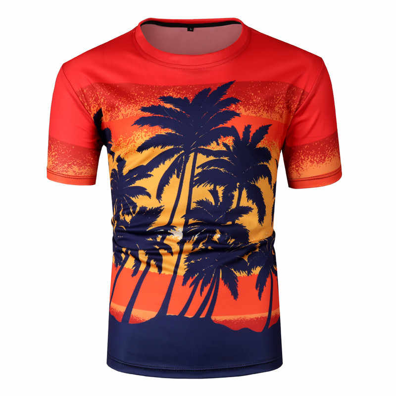 3D кокосовой пальмы принт Гавайская футболка для мужчин женщин Лето 2019 г. короткий рукав Пляжная футболка хип хоп повседневное