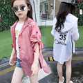 Girls cardigan fall bask in clothes hooded sun-protective clothing girl left shoulder sleeve of your coat