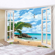 Beach Outside The Window Printed Tapestry Cheap Hippie Wall Hanging Bohemian Wall Tapestries Mandala Wall Art Deco beach window view print tapestry wall hanging art