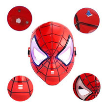 Childrens Cartoon Mask Spider-man Toy Glow with Lamp Spiderman LED Glowing Superhero Halloween Light