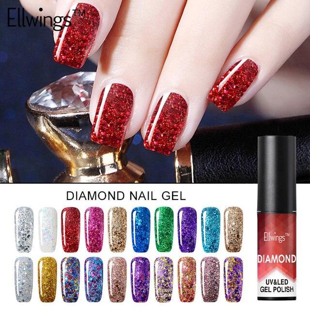 Ellwings Diamond Gel Nail Polish Adhesive Nail Gel UV Sequined Gel ...