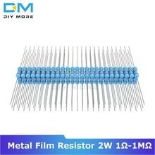 100 Uds resistencia de película de Metal 2W 1R-1M Ohm resistencia 1K 2,2 K 4,7 K 5,1 K 6,8 K 10K 15K 22K 47K 1% + 1% -1% Diy electrónica resistencia