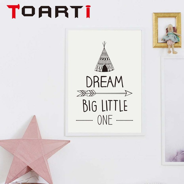 Dream Big Little One Inspirational Quotes Canvas Painting Minimalist