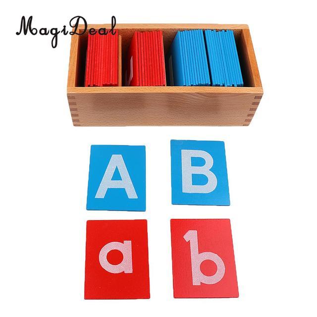 MagiDeal madera Montessori arena alfabeto tablero para la escuela en casa Material de enseñanza chico bebé carta educativa aprendizaje