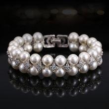 Женский свадебный браслет с жемчугом двухслойный