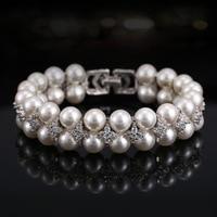 Bilincolor high quality double column white pearl luxury wedding bridal fashion bracelet for women