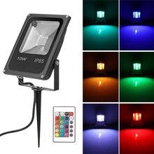 Pelouse projecteur 10W RGB LED pelouse lampe projecteur projecteur télécommande étanche jardin canal spot AC 85 245V