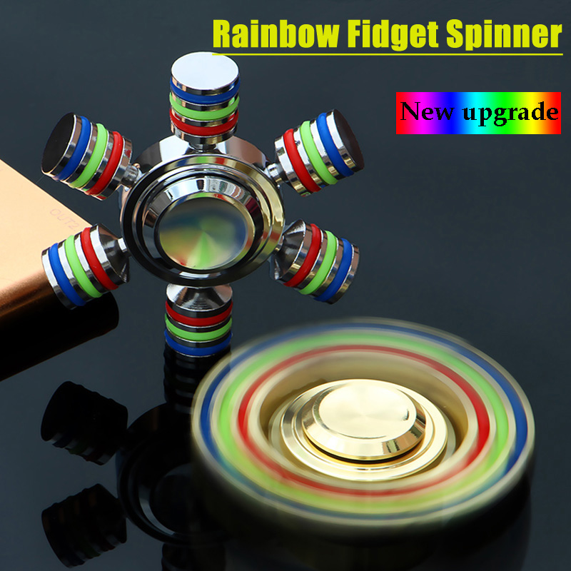 JX 6 Rainbow Fidget Spinner Metal Finger Spinner Hand Spinner Hand Brass For Autism Adult Anti