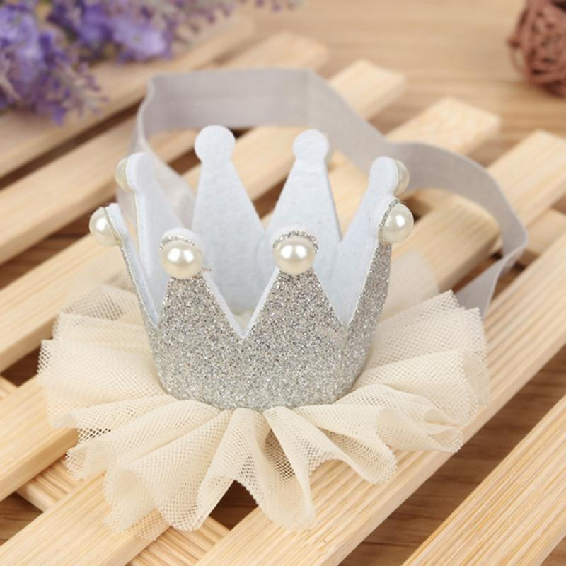 Baby Kids Girls <font><b>Crown</b></font> Hairband <font><b>Princess</b></font> Elastic Tiara Lace Faux Pearl Headband Headwear Hair Accessories image