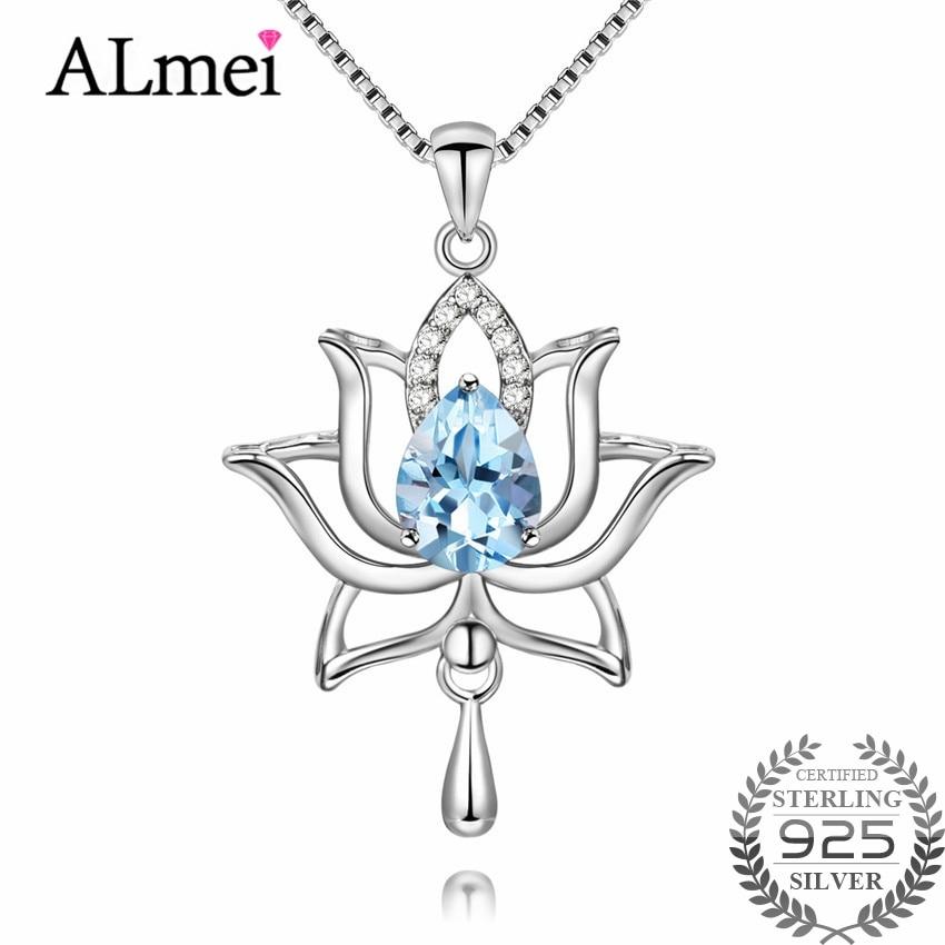 Almei Femelle 1.2ct Bleu Topaze 925 Sterling Argent Lotus Colliers et Pendentifs pour Femmes Élégant Pissenlit Fleur avec Boîte CN055