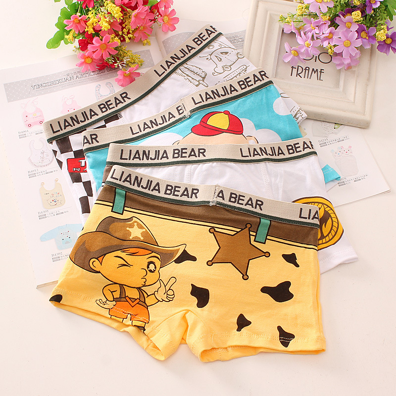 4pcs/lot Boys Pure Cotton Soft Boxers Underpants Baby's Cute Cartoon Ventilate Underwear Boxer 5piece new pure color boys kids underwear boxers mixing many children underwear modal high quality soft modal boys briefs2 16y