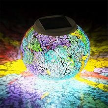 Solar Glass Ball Table Light Color Changing Solar Powered Mosaic Glass Table Lamp,Waterproof Led Night Light for Home Decoration(China)