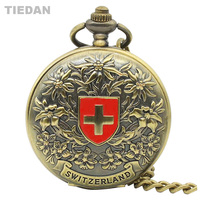TIEDAN New Fashion Cross Design Steampunk Mechanical Hollow Bronze Pocket Watch With Chain Necklace Vintage Fob