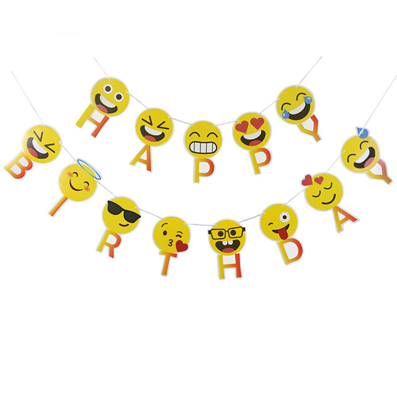 1 Set Smiley Face Emoji Happy Birthday Letters Banners Expression Paperboard Hanging Buntings Birthday Party Decoration Flags