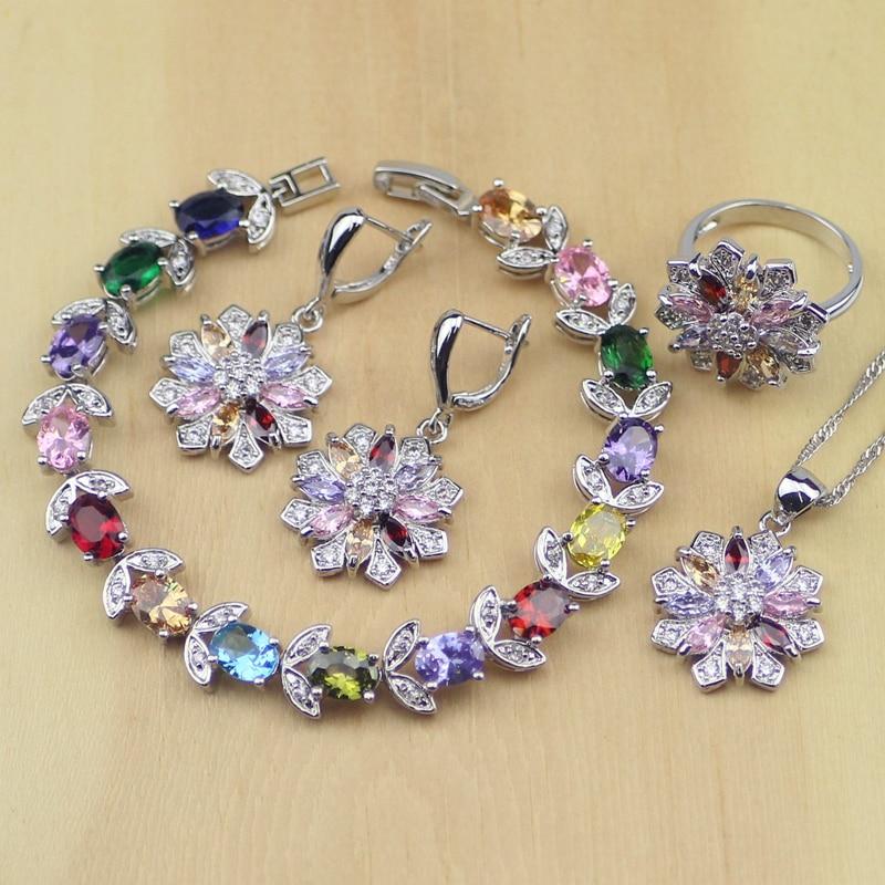 Blume Multi-farbe Steine 925 Sterling Silber Schmuck Sets Frauen Ohrringe/anhänger/halskette/ring/armband Volumen Groß Schmuck & Zubehör