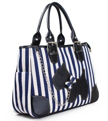 2017 Summer Hot Free Shipping Navy Stripe Tote Canvas Retro Handbag Blue