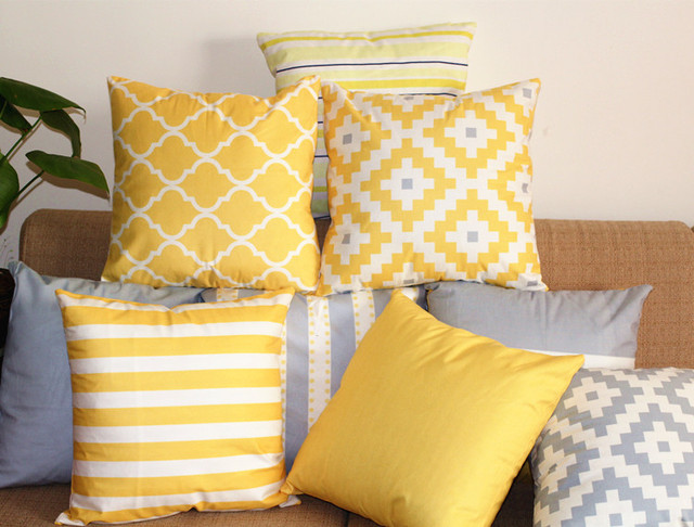 Aliexpress Buy Double Side Print Pillow Cover Yellow Grey Best Pillow Decor Ltd